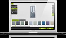 The Solidor door designer mock up within a Macbook laptop