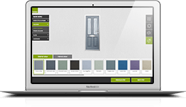 The Solidor door designer mock up within a Macbook laptop