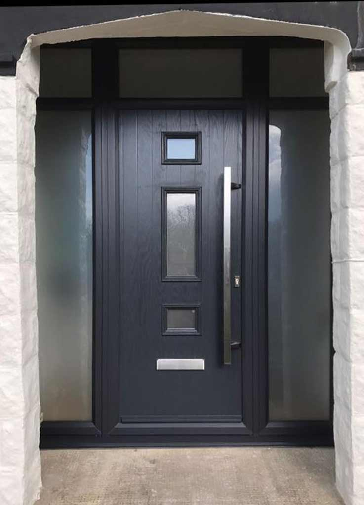 Contemporary grey composite door with long pull handle