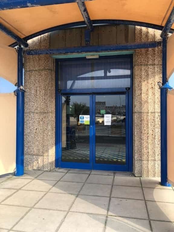 Out of order blue automatic doors