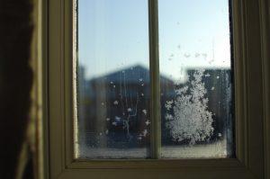 Snow on a window