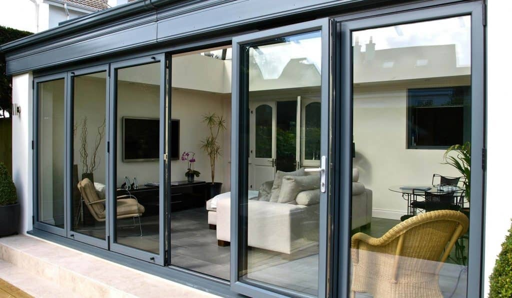 Aluminium bifolding patio door with chrome handles and 6 panels Dorchester
