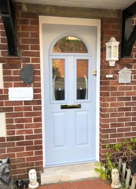 Solidor composite conway door in duck egg blue with slam shut heritage lock Poole